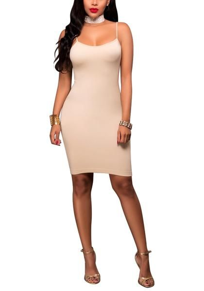 Let's go back to basic and nail that simply sexy style by wearing this beige cami bodycon dress.