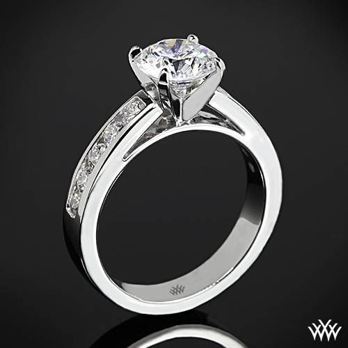 Simple k White Gold Cathedral Channel Set Diamond Engagement Ring