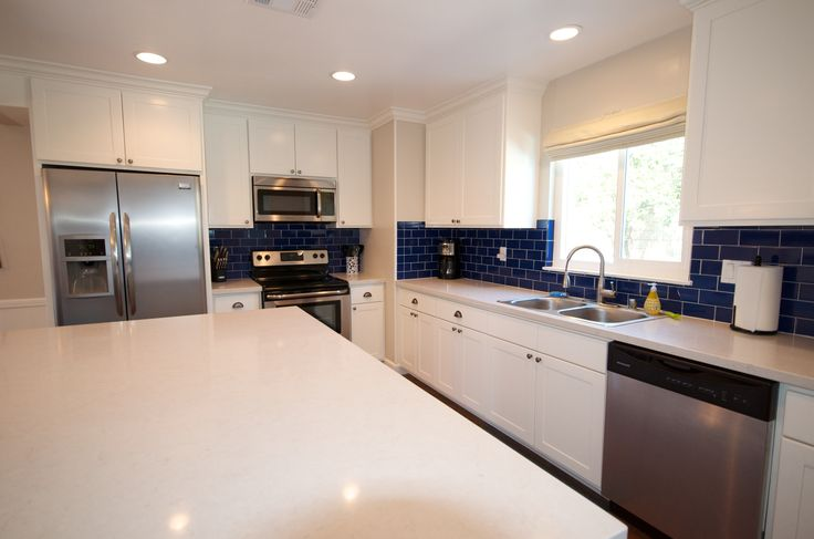 White Cabinets Cobalt Blue Subway Tile From Home Depot