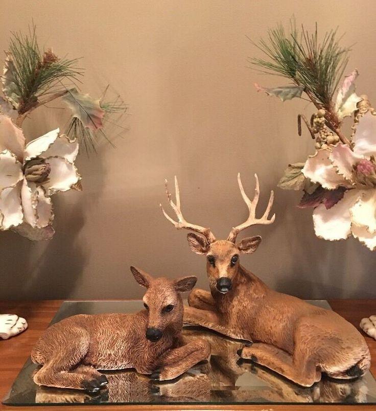 Vtg Homco Deer Statues Set 12pt Buck 1984 U0026 Doe 1985 Figurines Home Interior