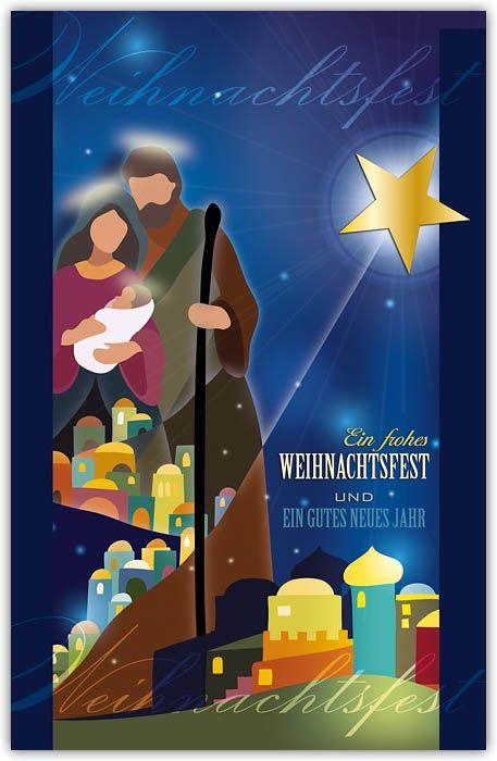 Religiöse Weihnachtsgrußkarte mit Stern von Bethlehem und Jesuskind ...