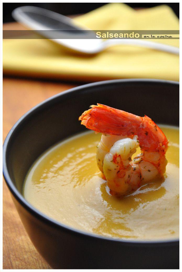 Pumpkin cream with orange fried shrimps