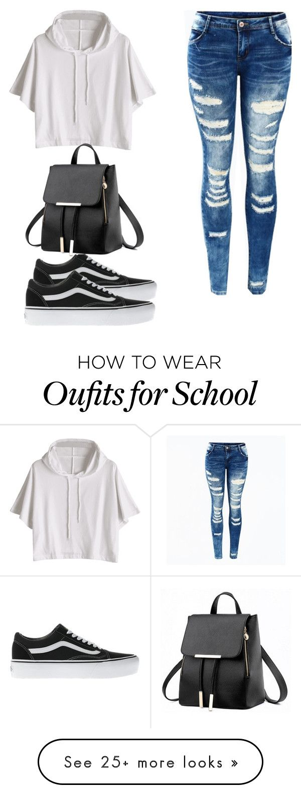 """""""school day"""" by stephanierafanan on Polyvore featuring Vans"""