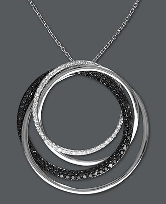 Caviar by Effy Collection Diamond Necklace, 14k White Gold Black Diamond and White Diamond Circle Pendant (1 ct. t.w.) - Necklaces - Jewelry & Watches - Macy's
