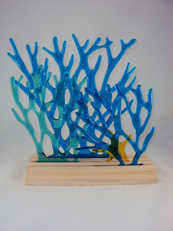 turquoise and blue transparent glass 'sea grass' with