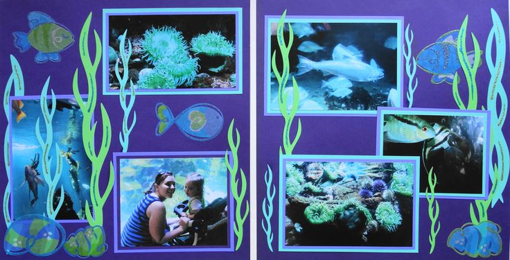 Scrapbook Page - At the Aquarium - 2 page layout with seaweed and fish from Everyday Life Album 11