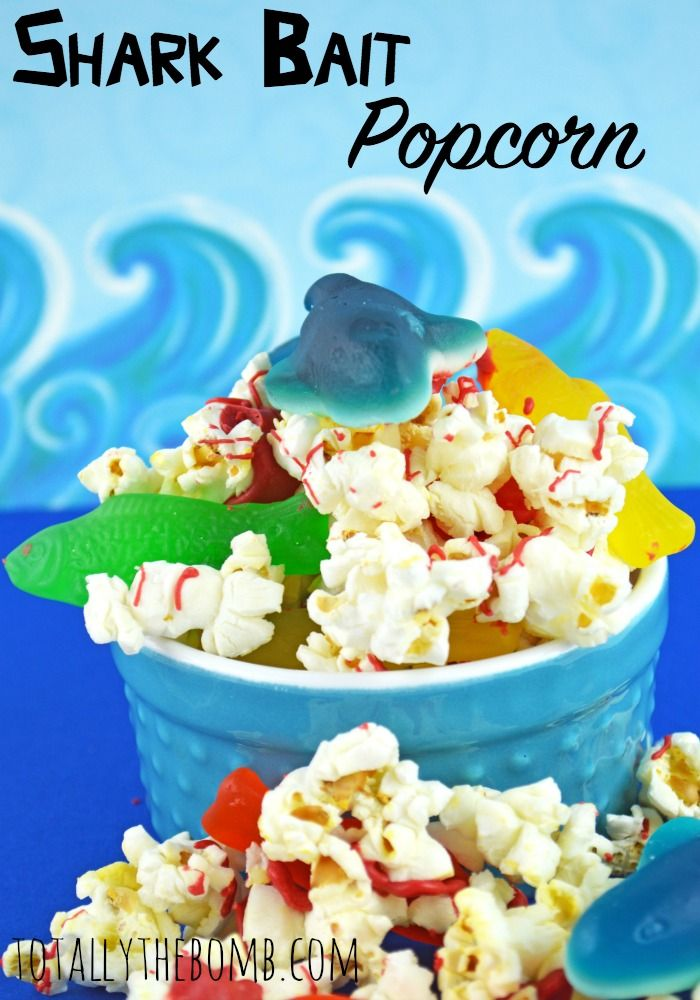 Shark Bait Popcorn Snack Recipe - Scare up a good time with this yummy shark bait popcorn! Perfect for family movie night, your next birthday party or even as an after school snack!
