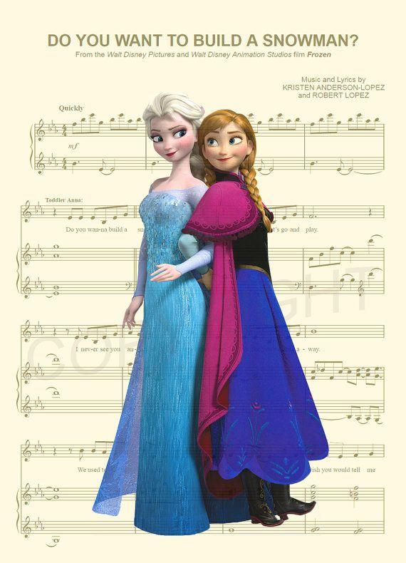 Anna congelée et Elsa musique feuille Art Print par AmourPrints