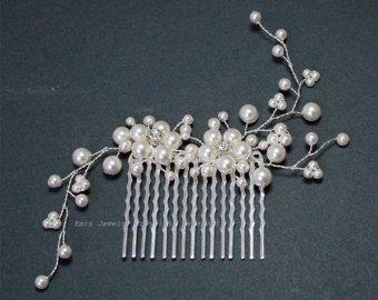 White Pearl-bruiloft haaraccessoires, Swarovski Pearl Silver Bridal haar Vine kammen, bruid bruidsmeisje haar stuk Sieraden accessoires H20