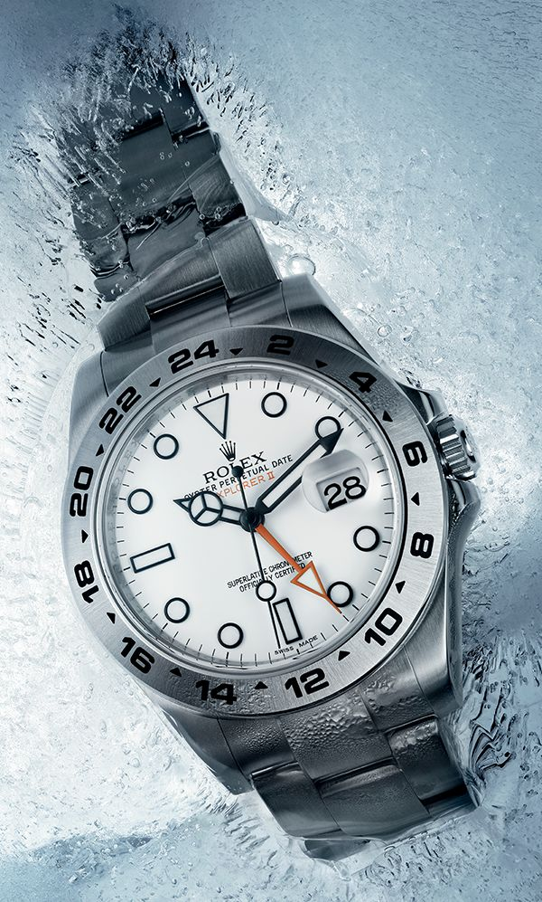 The Rolex Explorer II in 904L steel with a white dial. A natural heir to the Explorer watch as a reliable guide, tool and companion in extreme environments. #Rolex #ExplorerII