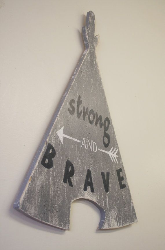 Adorable teepee cutout for the nursery! This is a wood cutout that measures 15 x 20. The background is Gray. Words are Navy and arrow design is
