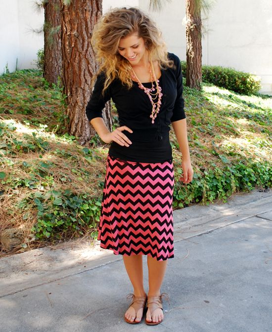 Coral & Black Chevron Midi...I love her curly hair!