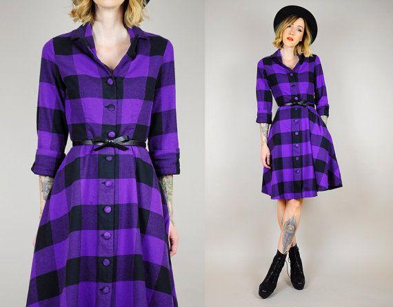 Buffalo Plaid Flannel Shirt Dress 90 39 S Full Circle Skirt