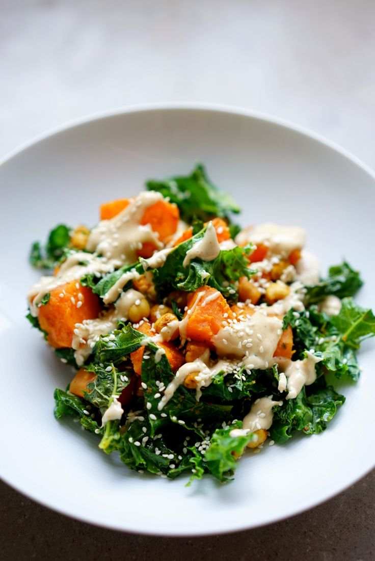 Roasted sweet potato, kale and chickpea salad | Wandering Spice