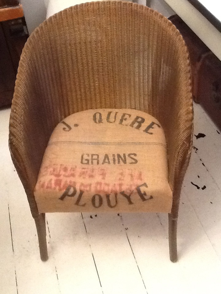 Lloyd Loom Chair   Recovered Seat Using Vintage French Grain Sack