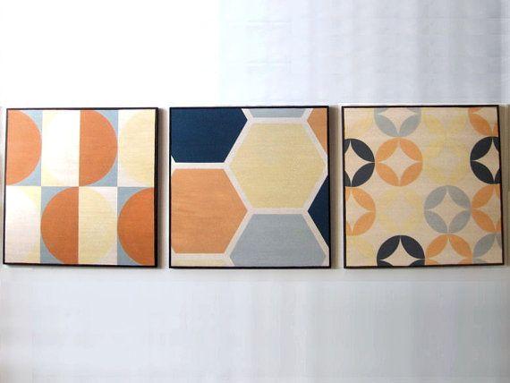 Wall Decoration  Set of 3 Art Blocks  Mid Century by Lunartics, €150.00