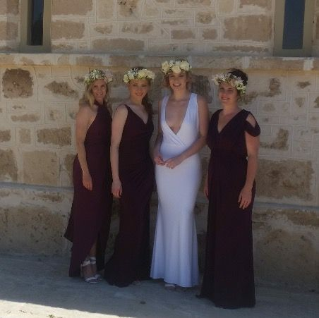 Grape/Plum Bridesmaids dresses. Mismatched in this Beautiful deep striking colour. Nora and Elle Bridesmaids.