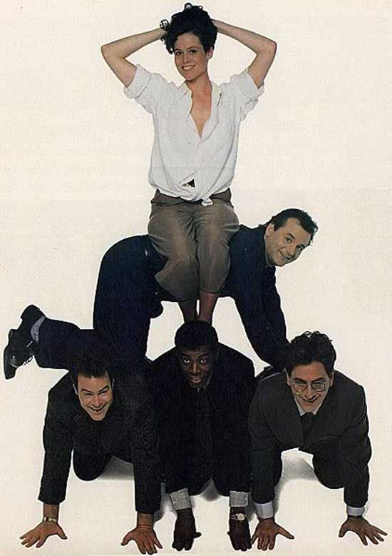 "Sigourney Weaver, Bill Murray, Dan Aykroyd, Ernie Hudson and Harold Ramis posing for ""Rolling Stone"" Magazine ~ 1989"