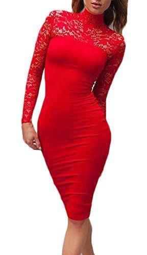 bda6adcf01cb Vestiti Donna Eleganti Vintage Vestito Tubino Ginocchio Abito in Pizzo  Manica Moda Giovane Lunga Slinky Collo