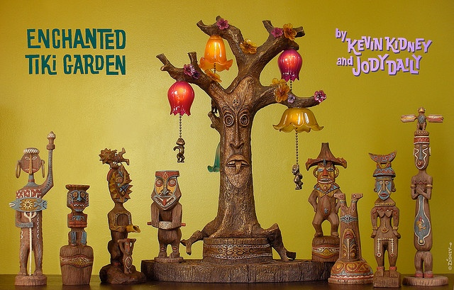 Enchanted Tiki Room Figurine Sets #1 and #2, and Tangaroa Lamp, by Kevin Kidney and Jody Daily.