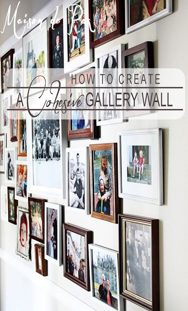 Creating a cohesive gallery wall on a budget using eclectic frames and a giant molding frame... at www.maisondepax.com