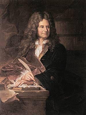 """Nicolas Boileau, portrait par Hyacinthe Rigaud (musée de Versailles) - En 1666, Boileau publie son 1° recueil de Satires et un Discours au Roi, dans lequel il prend le parti de Molière lors de la cabale montée contre Tartuffe. Quelques-unes de ces 1° satires sont restées célèbres. Il fait paraître, 2 ans après, une nouvelle édition augmentée de 2 pièces. Il ne reviendra u genre qu'en 1693, au moment de la """"querelle des Anciens et des Modernes"""""""