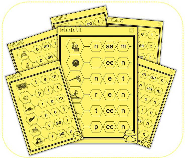 Met deze klikklak-vellen oefenen de kinderen het hakken en plakken van woorden. Ze hebben hiervoor ook het klikklak-boekje van de methode nodig. Heb je dat niet, dan kan je hen de woorden ook laten...