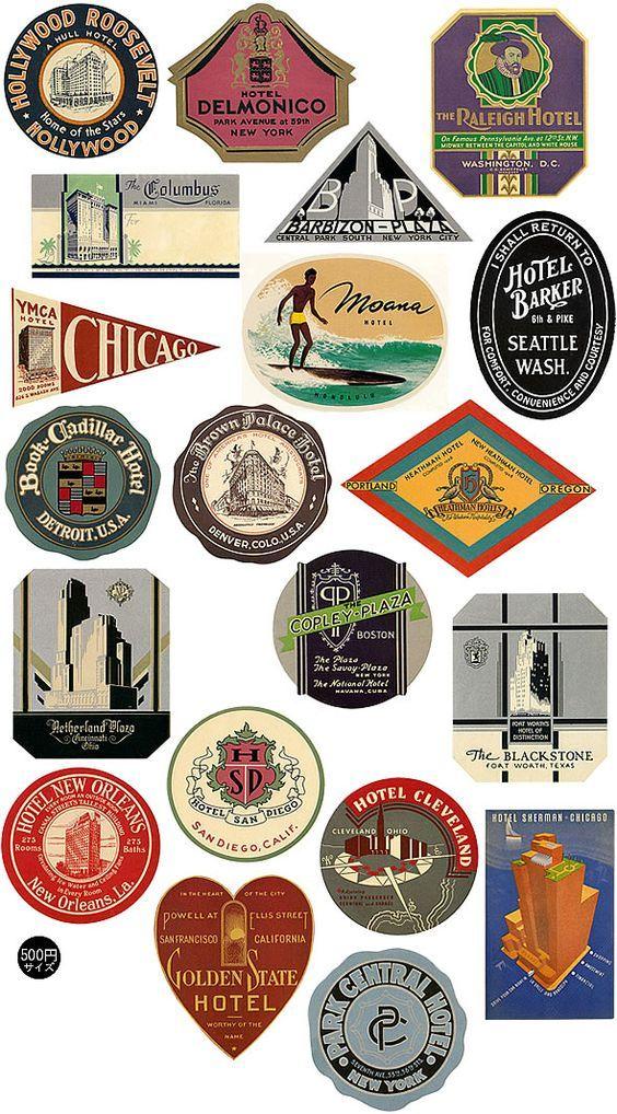 luggage labels | vintage, retro