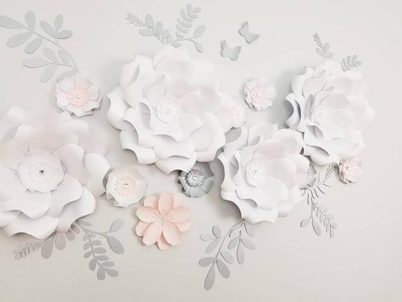 White Paper Flowers Nursery Wall Decor White Pink Flowers Image 3 White Paper Flowers Flower Nursery Paper Flower Wall