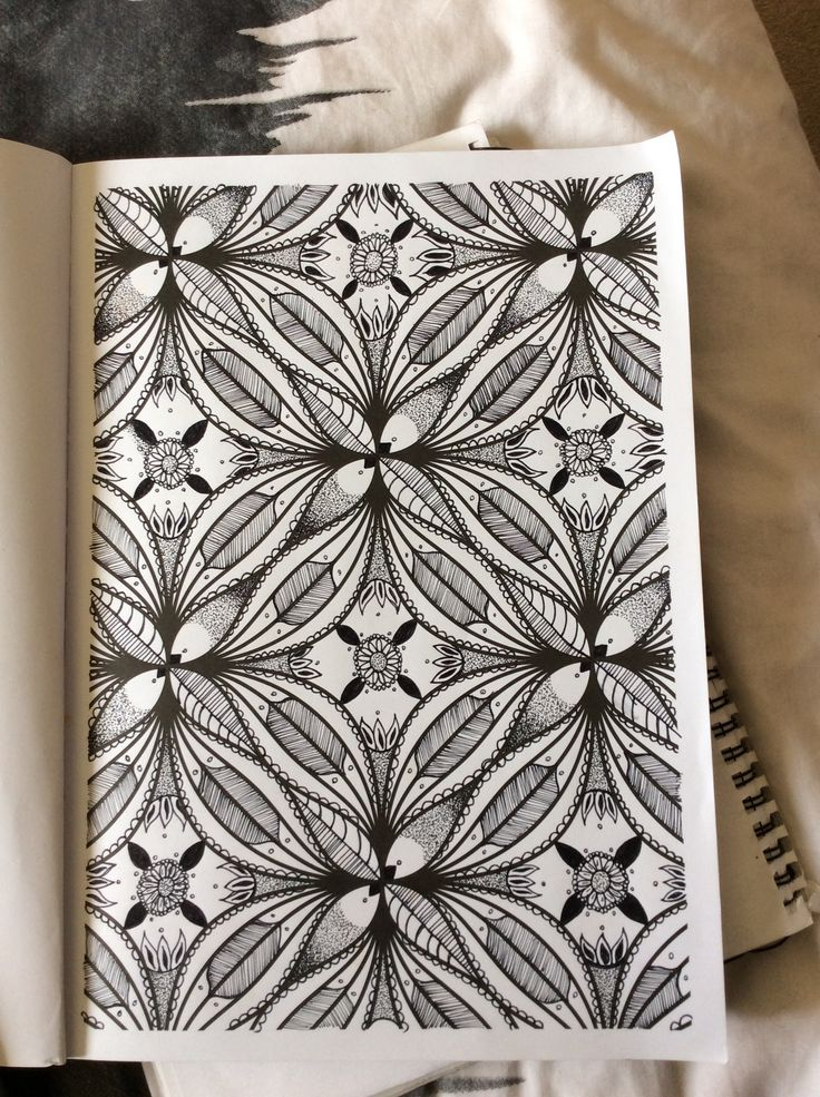 Filled in detailing from an adult colouring book