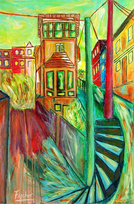 'Casa Crucero', acrylic on canvas, 60x40cm #art #painting #artist #acrylic #valparaiso #colorful #canvas #fischerart