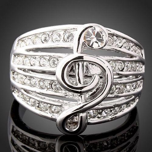 Swarovski Crystal Music Note Engagement W Gold GP Rings