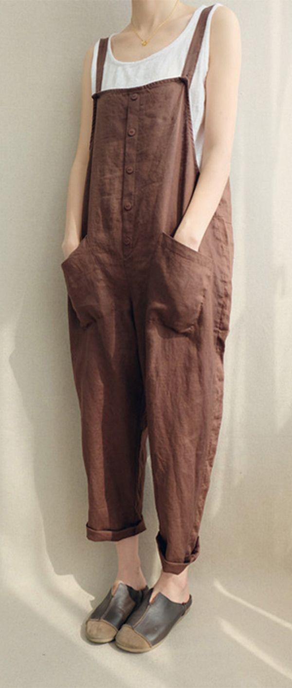 Casual Women Solid Color Strappy Pocket Loose Harem Jumpsuit