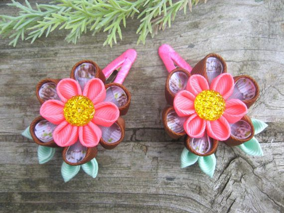 Set of 2 hair clips. Сhocolate and Bubble gum. от SummerForYou