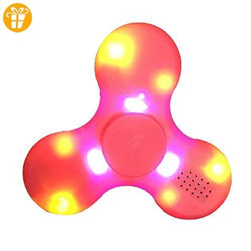 Fidget Spinner Leuchtend, Lamshaw 2-in-1 Fidget Handspinner LED mit Bluetooth Musik Lautsprecher Neu 2017 (Rot_LED) - Fidget spinner (*Partner-Link)