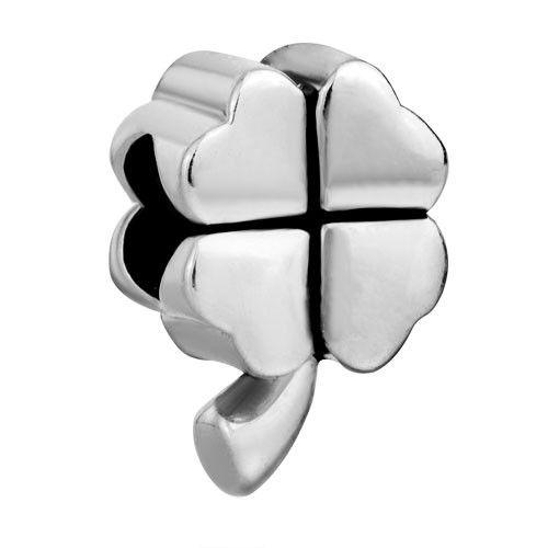 Lucky Four Leaf Clover Beads Charms Bracelets Pandora Chamilia Compatible | Charmsstory.com #charms #pandora #luckycharms #clover #leaf