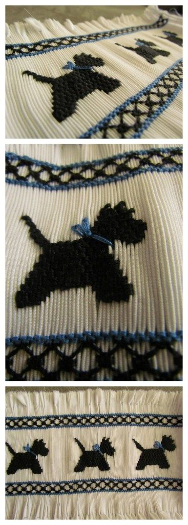 Scotty Dogs Smocking-  like the blue, I've done it in red.                                                                                                                                                                                 More