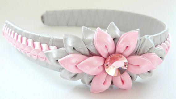 Kanzashi Fabric Flower headband, pink and grey.