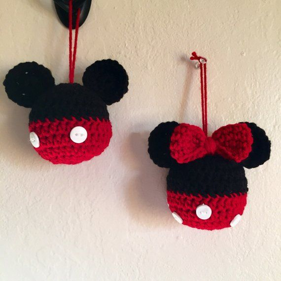Set of 2 crochet made to order mickey and minnie mouse inspired ball ornaments 1 mickey 1 minnie