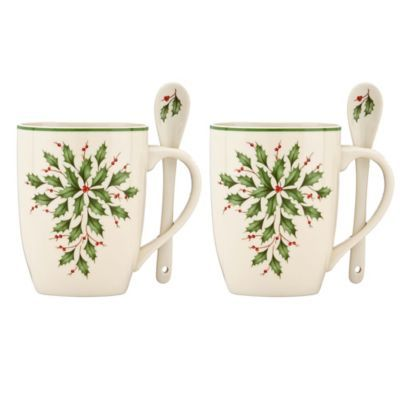 Lenox® Holiday™ Cocoa Mugs with Spoons (Set of 2) - BedBathandBeyond.com