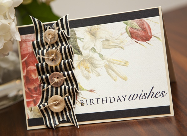 Beautiful card using beautiful new Carta Bella papers.  BirthdayWishes1