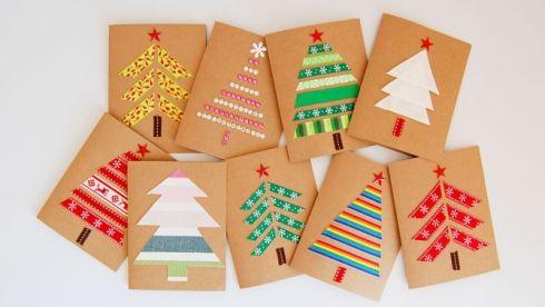 Cartes Noël rubans 670 - Des cartes faites main pour vos proches