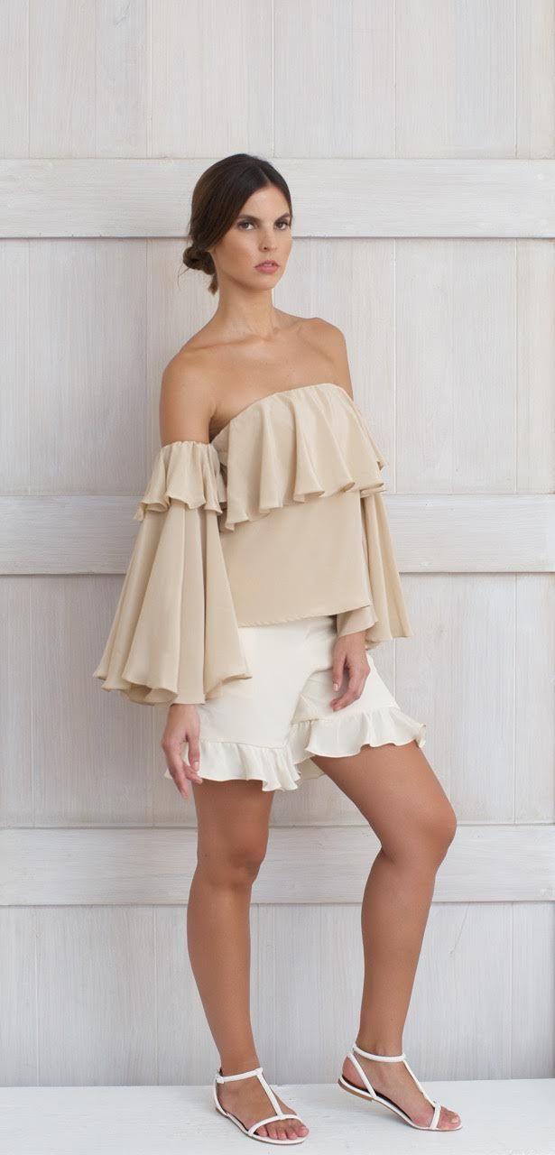 Viola Top- off the shoulders, 100% silk, long sleeve