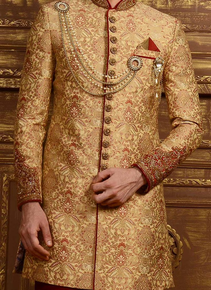 Benarasi Silk Golden Achkan Sherwani