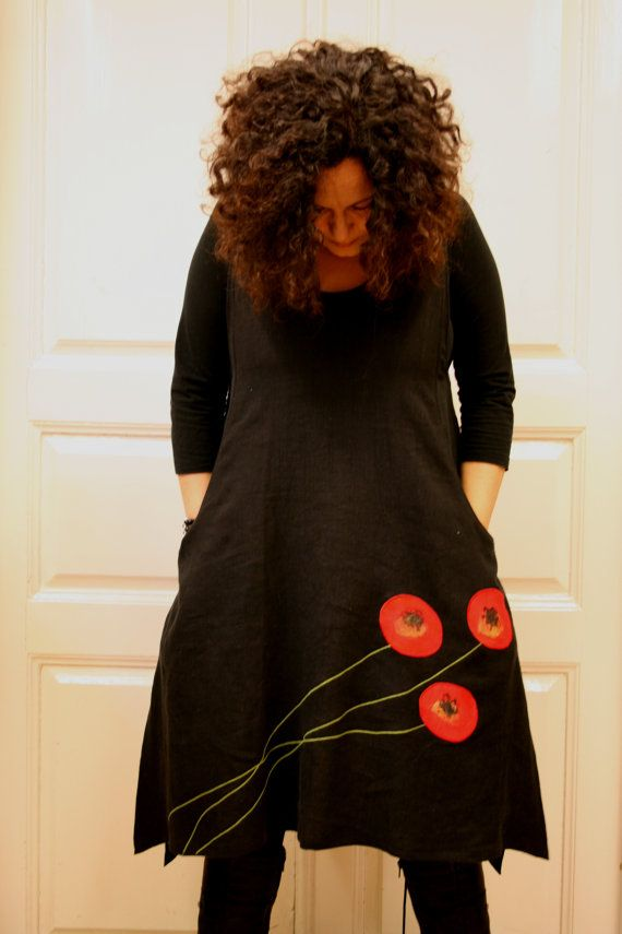 TaskuTarina dress in black with red poppies by Saagadesign on Etsy