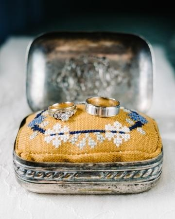 Antique ring box with an embroidered linen pillow