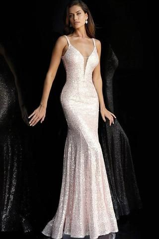 350fa084a20 Jovani - 66383 Fully Sequined Deep V-neck Trumpet Dress in 2019 ...