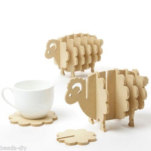 1PC BD Handmade DIY Assembled Wooden Sheep Creative Cup Mat Home Decoration