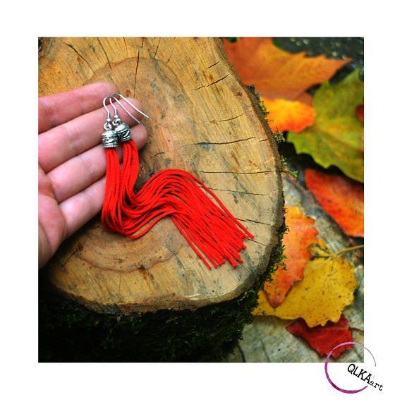 Extra long tassel earrings red long earrigs red tassels