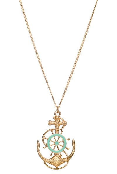 Sea Fathom Nautical Anchor Wheel Pendant Necklace in Mint